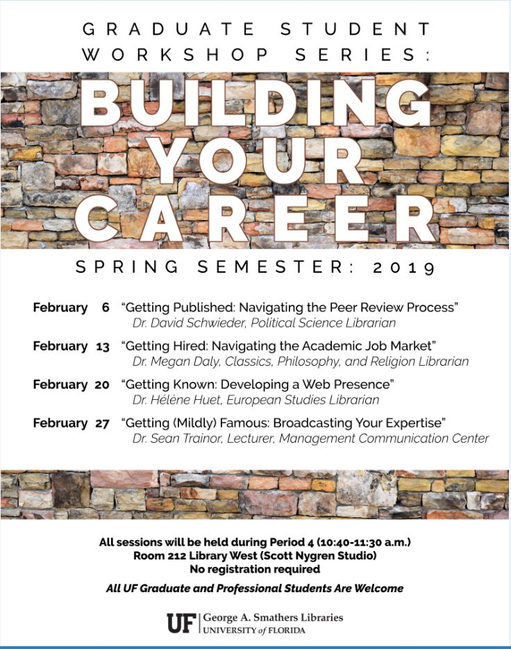 Poster for Graduate Student Workshop Series Spring 2019
