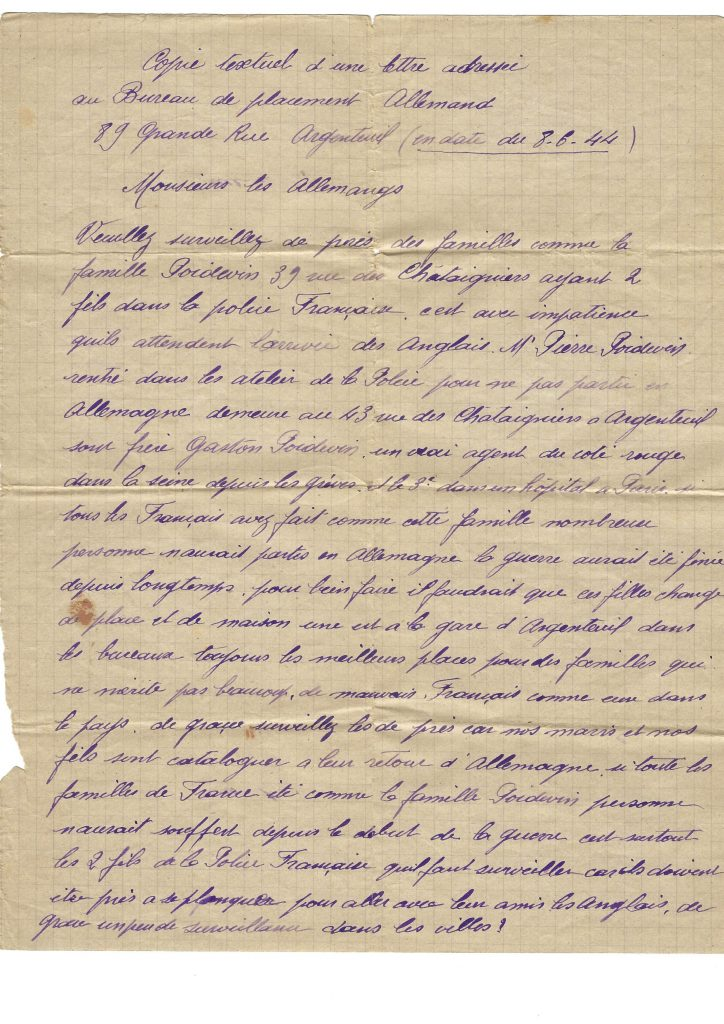 Denunciation Letter from 1944