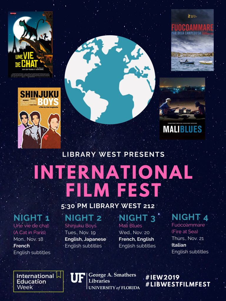 Poster for the International Education Week Film Festival, 2019, in Library West.